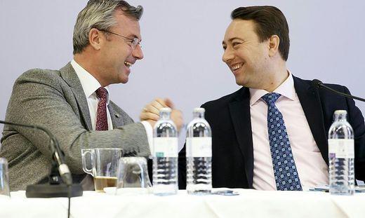 Parteichef Hofer mit Oberösterreichs FPÖ-Chef Haimbuchner