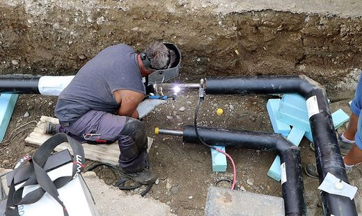 In der Kirchgasse wird gerade am Wasserleitungsnetz gearbeitet