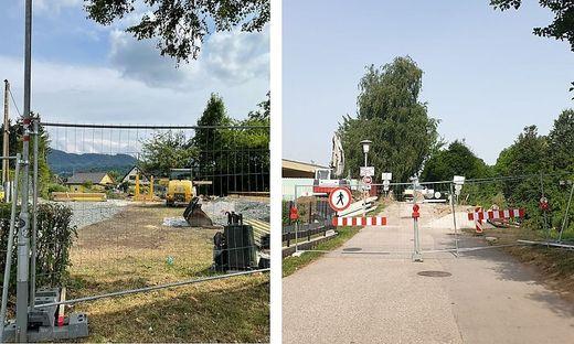 Bauarbeiten in der Schrödingerstraße/ Flußgasse