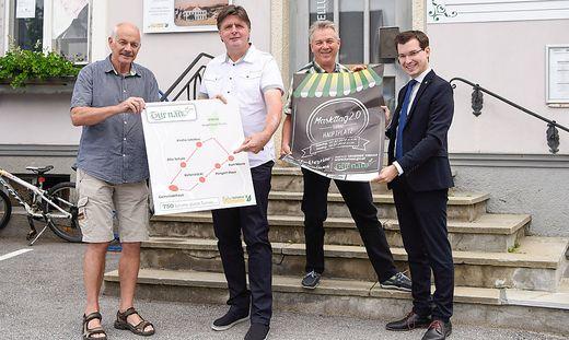 """Präsentierten """"750 Schritte durch Turnau"""" und das Marktfest: Günther Breidler, Hannes Putzgruber, Erwin Hofer und Stefan Hofer (v. l.)"""
