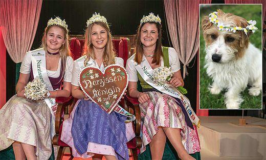 Sabrina Kranabitl mit ihren Prinzessinnen Romana Moser und Veronika Giselbrecht - und Hund Frido