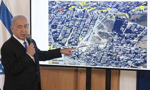 Israel werde auf neue Raketenangriffe aus dem Gazastreifen in aller Härte reagieren, warnte Netanyahu am Freitag bei einem Besuch im Militärhauptquartier in Tel Aviv