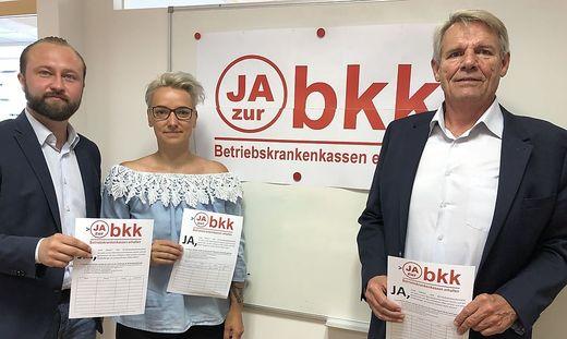 NR-Kandidat Max Lercher, Betroffene Marlene Lenz und Betriebsrat Alois Madenberger