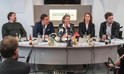 Kandidaten Waitz (Grüne), Mayer (FPÖ), Vollath (SPÖ), Schmiedtbauer (ÖVP) und Windberger (Neos)