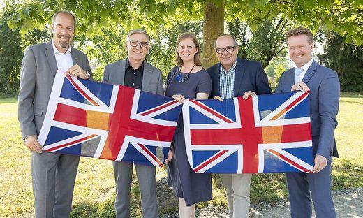 Großbritannien im Fokus: Jürgen Roth, Josef Herk, Barbara Eibinger-Miedl, Manfred Kainz und Georg Knill