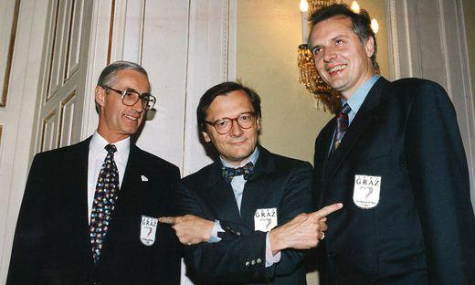 Der damalige Wirtschaftsminister Wolfgang Schüssel besucht Alfred Stingl und Gerhard Hirschmann in Graz