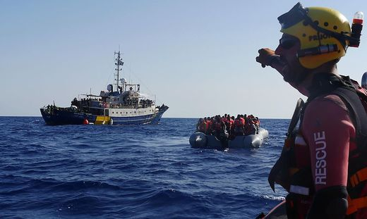 Search and Rescue Ship Lifeline gots unter firer by the libyan coast gard during rescue