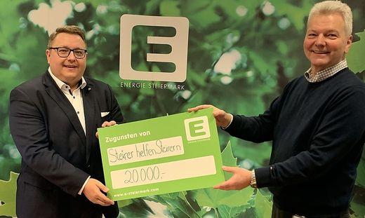 Martin Graf (Energie Steiermark) und Bernd Olbrich (Steirer helfen Steirern)