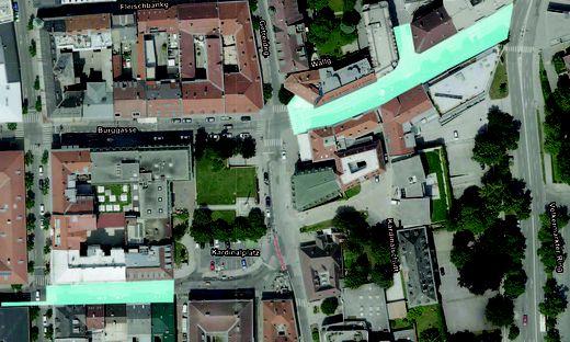 Salmstraße und Paradeisergasse sind für die Dauer der Sanierungsarbeiten gesperrt.