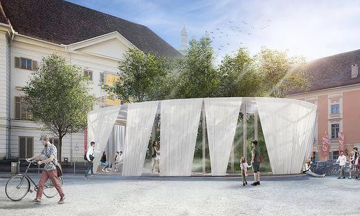 So soll der Pavillon am Freiheitsplatz in Graz ausschauen