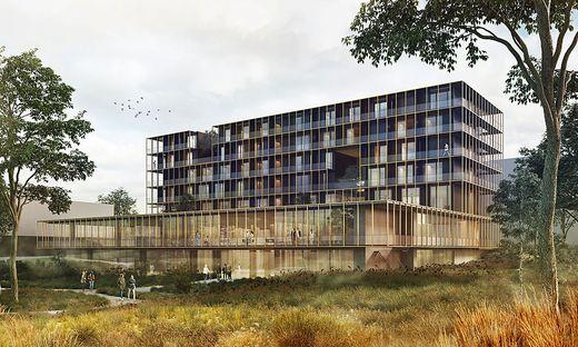 So wird die Reha-Klinik aussehen: ein kühnes Werk mit viel Glas und Holz