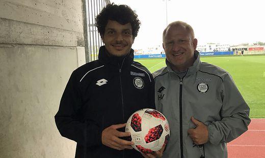 Philipp Hosiner und Sturm-Trainer Heiko Vogel