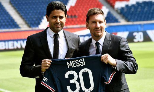 Nasser Al-Khelaifi und Lionel Messi