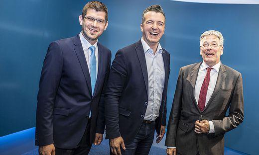 EU Wahl 2019 - LH Peter Kaiser SPÖ, Martin Gruber ÖVP, Gernot Darmann FPÖ im ORF Landesstudio