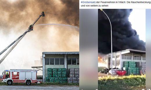 Links ein Originalbild vom Brand in Hörsching; rechts ein Screenshot aus dem Video, das das Villacher Onlinemedium zum Brand in Villach dazugepostet hat
