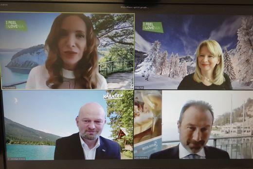 Moderatorin Mojca Mavec, Tourismus-Chefs Maja Pak, Christian Kresse und Lucio Gomiero