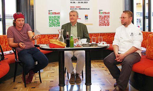 """Werner Schwaiger, Karl Rudischer und Andreas Krainer (v. l.) stellten """"Kostbar"""" vor"""