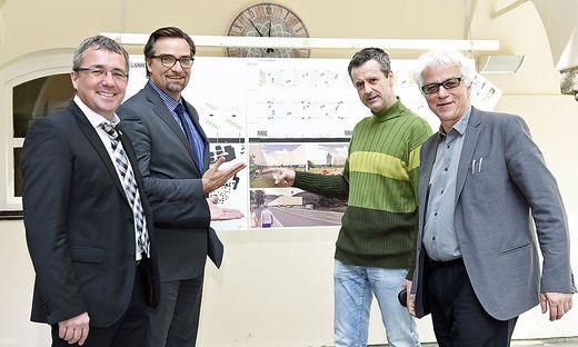 Peter Koch, Landesbaudirektor Andreas Tropper, Bernd Vlay (Europan), Günter Koberg (Baukultur)