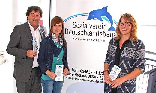 Sozialvereinsobmann Josef Steiner mit Kathrin Scherz und Julia Streit-Putzi