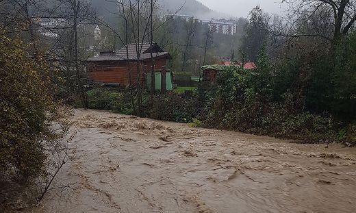 Hochwasser am Dienstag beim Ebriacher Bach bei Bad Eisenkappel