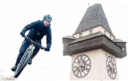 Derzeit toben sich Radfahrer am Grazer Schloßberg aus