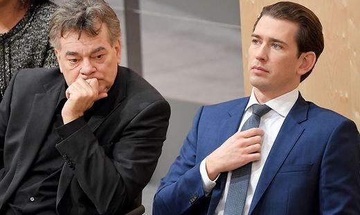 Vizekanzler Werner Kogler, Kanzler Sebastian Kurz  heute im Parlament