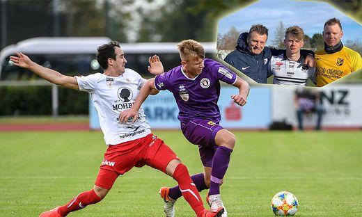 Youngster Florian Freissegger (in violett) setzt sich bei Austria Klagenfurt sehr gut in Szene. Ein eingespieltes Team: Papa Arnold, Florian und Bruder Arnold Freissegger (rechts oben)