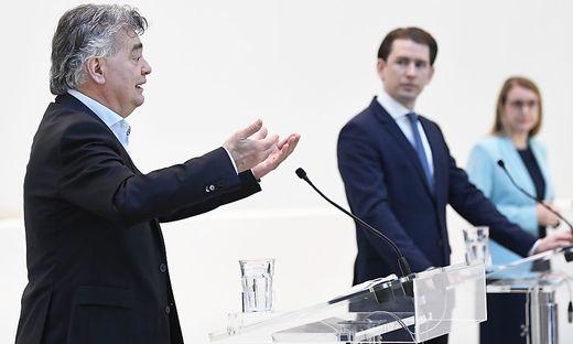Vizekanzler Kogler, Bundeskanzler Kurz und Wirtschaftsministerin Schramböck