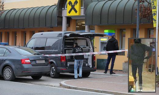 Die Polizei fahndet nach jenem Täter, der am Dienstag eine Bank in Krumpendorf überfallen hat. Rechts: Fahndungsfoto des Täters