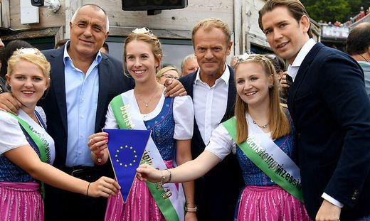 EU-RATSVORSITZ - STAFFELUeBERGABE IN SCHLADMING: KURZ / TUSK / BORISSOW