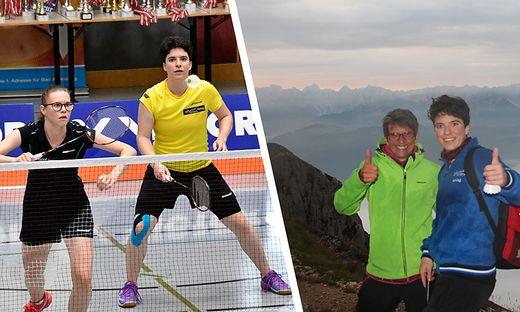 Jenny Ertl (in Gelb) gewann bei den Bundesmeisterschaften mit ihrer Schwester Conny im Damen-Doppel auch noch Silber. Rechts Jenny mit ihrer Mutter am Dobratsch bei Sonnenaufgang