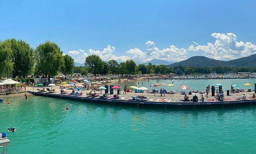 Gut besucht: das Klagenfurter Strandbad Samstagmittag