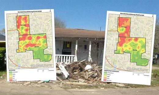 Ähnlichkeiten der roten und grünen Flächen auf den Karten lassen auf eine Korrelation zwischen Kriminalität und Stadtverfall schließen