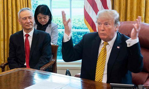 Donald Trump und Chinas Chefunterhändler Liu He