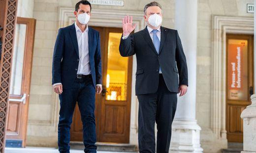 Gesundheitsminister Wolfgang Mückstein mit Wiens Bürgermeister Ludwig