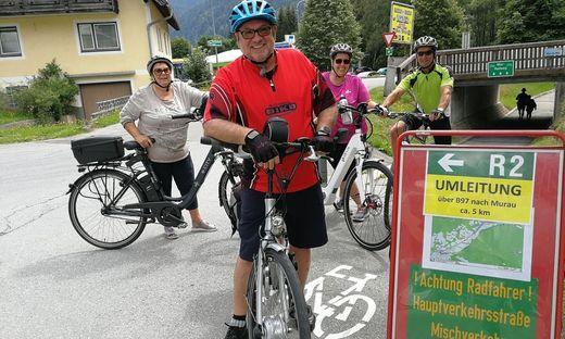 Hauptverkehrsstraße statt Radweg: auch diese Gruppe aus dem Bezirk Leoben muss ausweichen