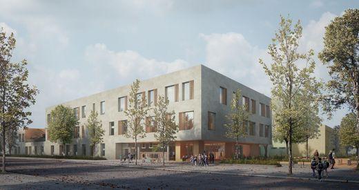 So wird die Volksschule in Puntigam aussehen. Das Büro Franz und Sue aus Wien setzte sich beim Architekturwettbewerb durch