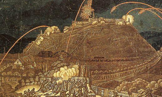 Der Schloßberg wird von Napoleons Truppen beschossen
