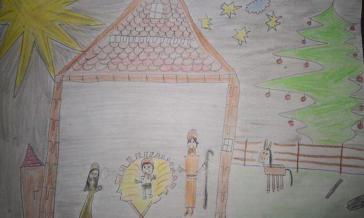 Ella und Nick aus Heimschuh haben im Vorjahr die Heilige Nacht gemalt