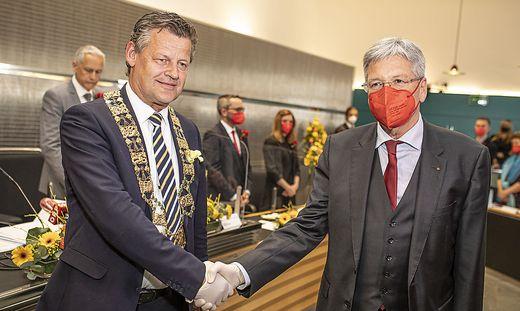 Angelobung Buergermeister Christian Scheider Rathaus Klagenfurt April 2021