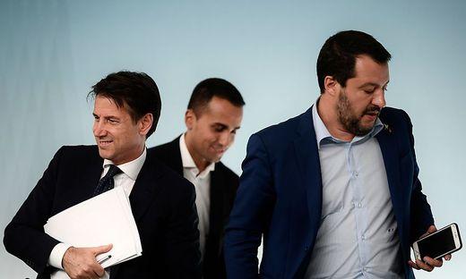 Bald vor dem Aus? Conte, Di Maio, Salvini (von links)