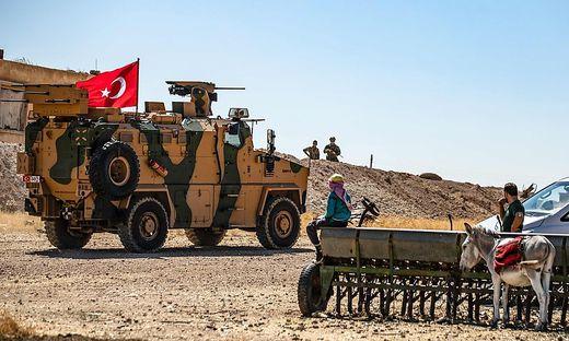 Türkische Soldaten in der Schutzzone zu Syrien