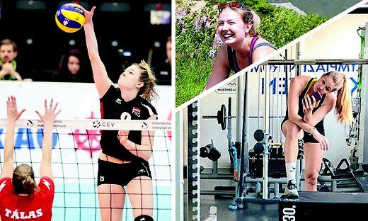 Mit dem Wechsel nach Italien geht für Kärntens Volleyball-Ass Katharina Holzer (am Ball) ein Traum in Erfüllung. Selfiezeit im Klagenfurter Olympiazentrum (re.). Die Keutschacherin genoss im Sommer die Freizeit in den heimischen Bergen