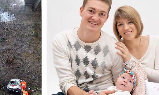 Links: Die Absturzstelle; Rechts: Matija Smrtnik mit Frau und Kind