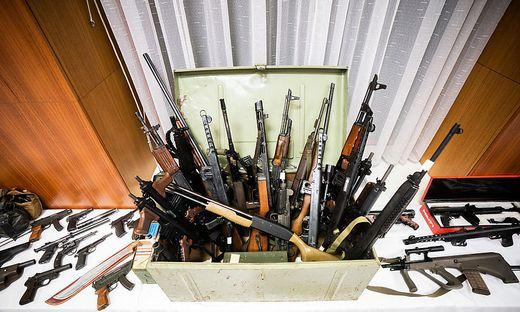 Ein Teil der Mitte Dezember sichergestellten Schusswaffen