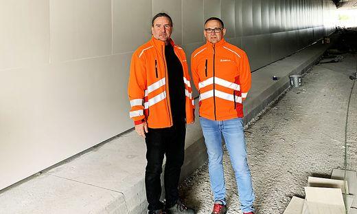 """Christian Fabian und Robert Paunger leiten das Asfinag-Projekt """"Fliesen statt Beschichtung"""""""