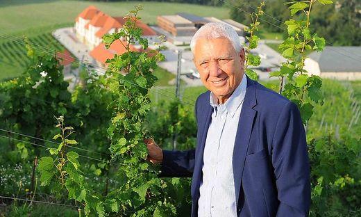 Alfred Riedl in seinem Weingarten zu Füßen von Burg Taggenbrunn