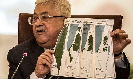 Abbas präsentiert die Palästinensergebiete von 1947 bis heute