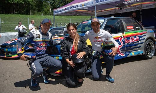 Joe und Elias Hountondji mit Sarah Ruckhofer