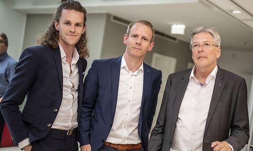 Luca Kaiser, Andreas Sucher, Peter Kaiser bei der Wahlanalyse